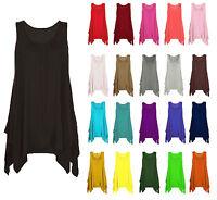 Womens Hanky Top Summer Gathered Ladies Plus Size Vest Hem Flared Dress 8-26 New