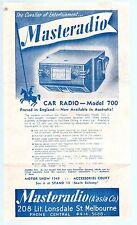 RARE 1949 Melbourne MOTOR SHOW MASTERADIO Car RADIO Promotional Leaflet EC