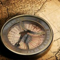 Solid Brass Captain's Sundial Compass Gift