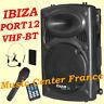 IBIZA PORT 12 VHF-BT enceinte amplifiée bluetooth USB SD MP3 - NEUF G= 2 ANS