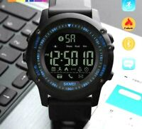 SKMEI Mens All Black Military Style Smart Watch Functions Activity Tracker