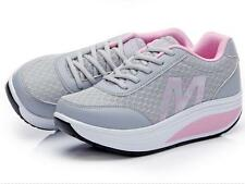 Womens Mesh Shape-Ups Slip On Sneakers Lace Up Walking Sport Casual Shoes Gray 8