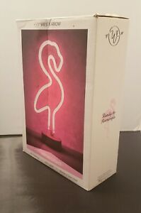 """LED Neon Flamingo Lamp By West & Arrow Battery Operated, 12""""H"""