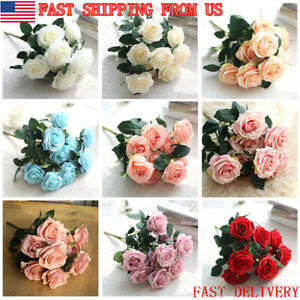 10 Heads Big Artificial Silk Flowers Fake Peony Wedding Rose Bouquet Home Decora