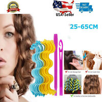 12 Pcs Water Wave Magic Curlers Formers Leverage Spiral Hairdressing Tool USA