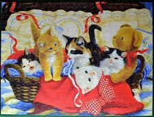 "COZY KITTENS Jigsaw Puzzle 500 Pieces Cats Teddy Bear 18"" x 24"" Linda Picken"