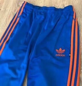 Adidas Originals mens RARE vintage 90s Blue Orange tracksuit track pants size S