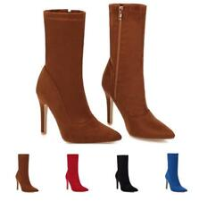 Sexy Womens Suede High Heel Pointy Toe Stretchy High Top Side Zip Ankle Boots US
