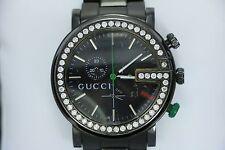 Men's Gucci 101M Chrono Stainless Steel 1.84ct Diamond Bezel Black Watch 44mm