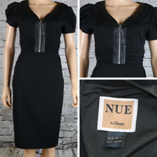 NUE SHANI Dress Black Career Zipper front Ruched Faux Leather Trim Sheath 6 $315