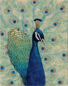 BLUE PEACOCK BIRD FAN TAIL CERAMIC TILE MURAL BACKSPLASH MEDALLION