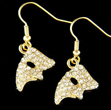 w Swarovski Crystal Phantom of the Opera Masquerade Mask Gold Pl Dangle Earrings