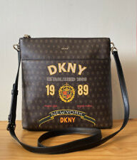 DKNY Dark Brown Signature Logo With Black Leather Trim Small Crossbody Bag