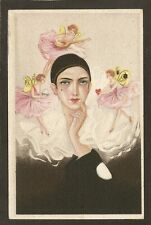 POSTCARD:  PIERROT & FAIRIES DRESSED IN PINK - UNSIGNED S. CHIOSTRI - SERIES 304