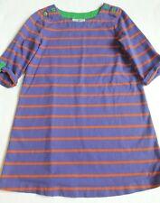 Hanna Andersson Dress size 110 (5) purple stripe roll sleeves