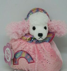 NEW Aurora Fancy Pals Poodle Dog Puppy in Pink Glitter Plush Bag Soft Plush Toy