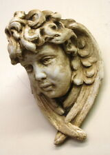 Vintage Angel Cherub Face Wall Sconce Shelf Bracket Winged Plaque Antique Finish