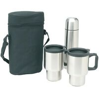 Stainless Steel Travel Mug Set w/Travel Case (Bag-Thermos-2 Cups)