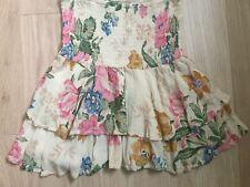 Designer Australian boho AUGUSTE mini ruffle floral skirt XS S M smocked waist