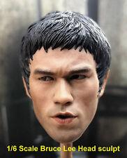 1/6 Bruce Lee Head sculpt Jet Li Muscle Body Shoe Jumpsuit Pants Enterbay 75th
