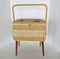 Needlepoint Sewing Bench Dritz Basket Vintage Seat Mid Century Modern Retro
