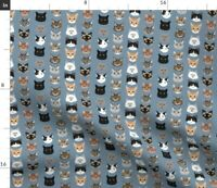 Small Cat Faces Cats Kitty Kitten Feline Cute Spoonflower Fabric by the Yard