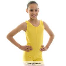 Ladies Sleeveless Plain Dance Short Boy Cut Unitard Catsuit Nylon Lycra Adults