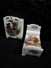 Beautiful Victorian Pattern - Limoges - Miniature Bed With Dresser