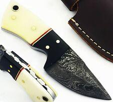 """4.5"""" Handmade Damascus Mini Neck Skinner Knife """" Bone & Horn Handle"""" (NK11)"""