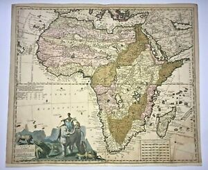 AFRICA 1710 N. VISSCHER II &  P. SCHENK  LARGE ANTIQUE ENGRAVED MAP 18TH CENTURY