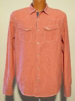 S7919 Penguin Men's Large Faded Red Striped Pearl Snap Western Shirt