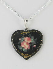"""Black Enameled Wood with Flowers Heart Pendant with 18"""" Silver Plated Chain"""