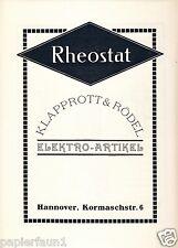 Elektro klapprott & Rödel Hannover ORIG. publicitarias 1924 kormaschstr. rheostat ad