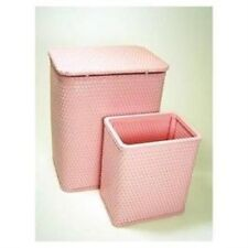 Redmon Chelsea Pattern Wicker Nursery Hamper & Matching Wastebasket Crystal Pink