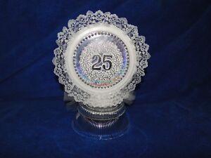 New Elegant 25th Wedding Anniversary Caketopper with silver #25 decor