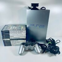 PS 2 Sony Playstation 2 Video Game Console Bundle Motion Camera with 10 Games