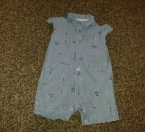 ⭐ Baby Boy clothes ⭐ white & blue striped Romper ⭐ Carter's ⭐ size 9 months ⭐
