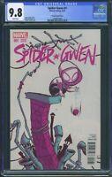 Spider Gwen 1 (Marvel) CGC 9.8 White Pages Premier issue Skottie Young Variant