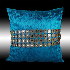 SHINY CIRCLES SILVER BLUE THICK VELVET DECO THROW PILLOW CASE CUSHION COVER 17""