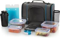 Pink//Gray Bottle RBX Portion Control Lunch Bag w// 6-Piece Container Set /& 27oz