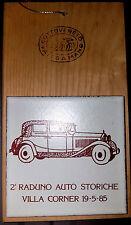Raduno Auto Storiche Epoca Piastrella Ceramica Villa Corner 19-5-85 su Legno 1