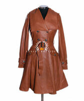 Elektra Tan Ladies Designer Military Real Soft Lambskin Leather Flare Coat