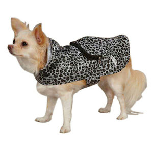 Casual Canine Rainy Day Gray Leopard Print Jacket w/Compact Pouch.  Size XXS.