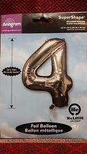 """NEW Anagram Super Shape 34"""" Tall Foil Balloon Silve Number 4 Birthday Photo Prop"""