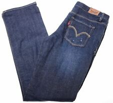 LEVI'S Womens Jeans Size 14 Large W30 L30 Blie Cotton Slim Straight  AT12