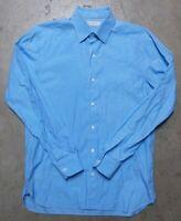 Ermenegildo Zegna Long Sleeve Button Shirt Men's Size Medium Blue Plaid Cotton
