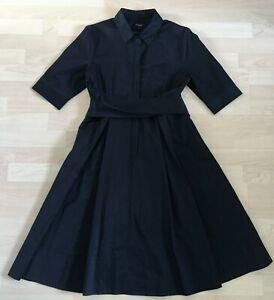 Hobbs Elegant Black Twitchill Midi Belted Shirt Savina Dress Fit & Flare UK14