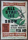 VINTAGE 1940 FIGURE SKATING ICE FOLLIES ART POSTER CHICAGO STADIUM SONJA HENIE