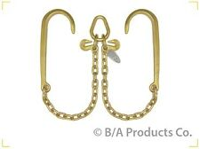 """New G70 V Bridle Chain Assembly 15"""" J-Hook with 2' Legs for Rollback Winch"""