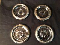 Vintage Midcentury Starburst Glass & Silver Plate Coasters (4) Leonard Italy